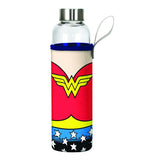 Wonder Woman Logo Glass Water Bottle with Neoprene Sleeve