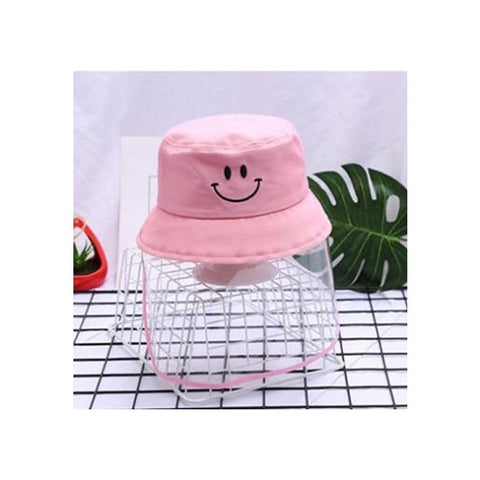 Kids/Youth Hat with Face Shield Smile Pink (56 Size)