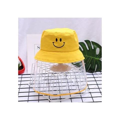Kids/Youth Hat with Face Shield Smile Yellow (56 Size)