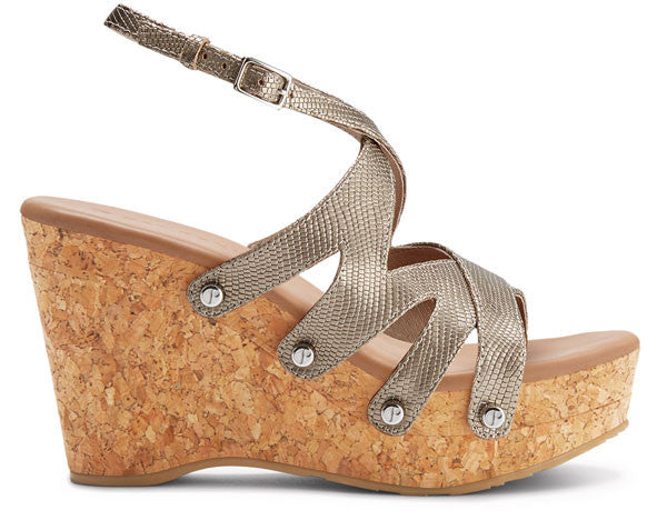 The Rita Metallic Lizard Wedge on Natural Cork