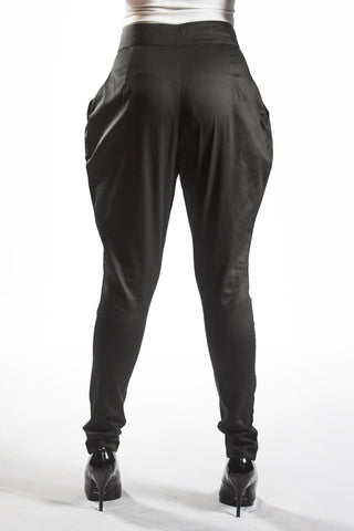 High Waist Pleated Saddle Pant