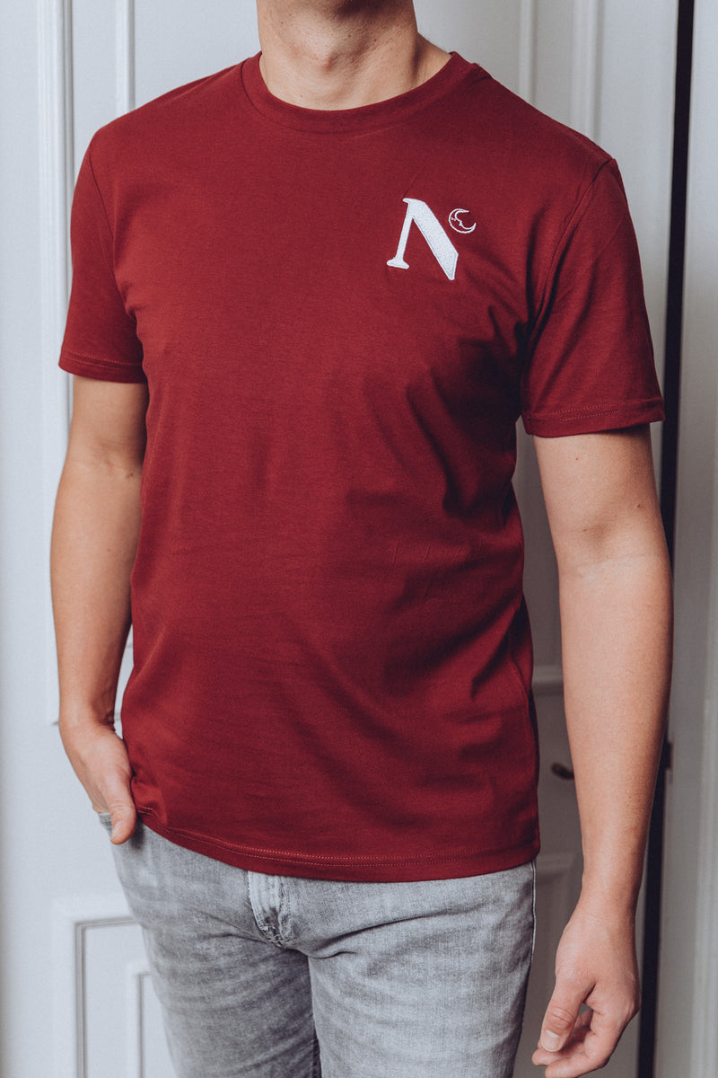 Burgundy 'Logo' T Shirt