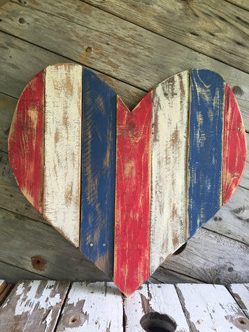 Red White Blue Pallet Heart Hickory Neck Co