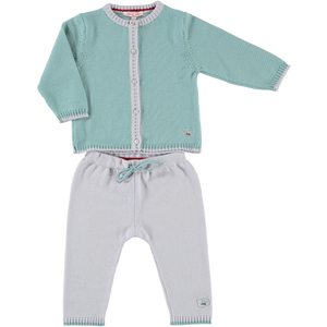 Merino Baby Cardigan & Leggings Set - Sage - Scarlet Ribbon Merino