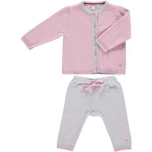 Merino Baby Cardigan & Leggings Set - Rose - Scarlet Ribbon Merino