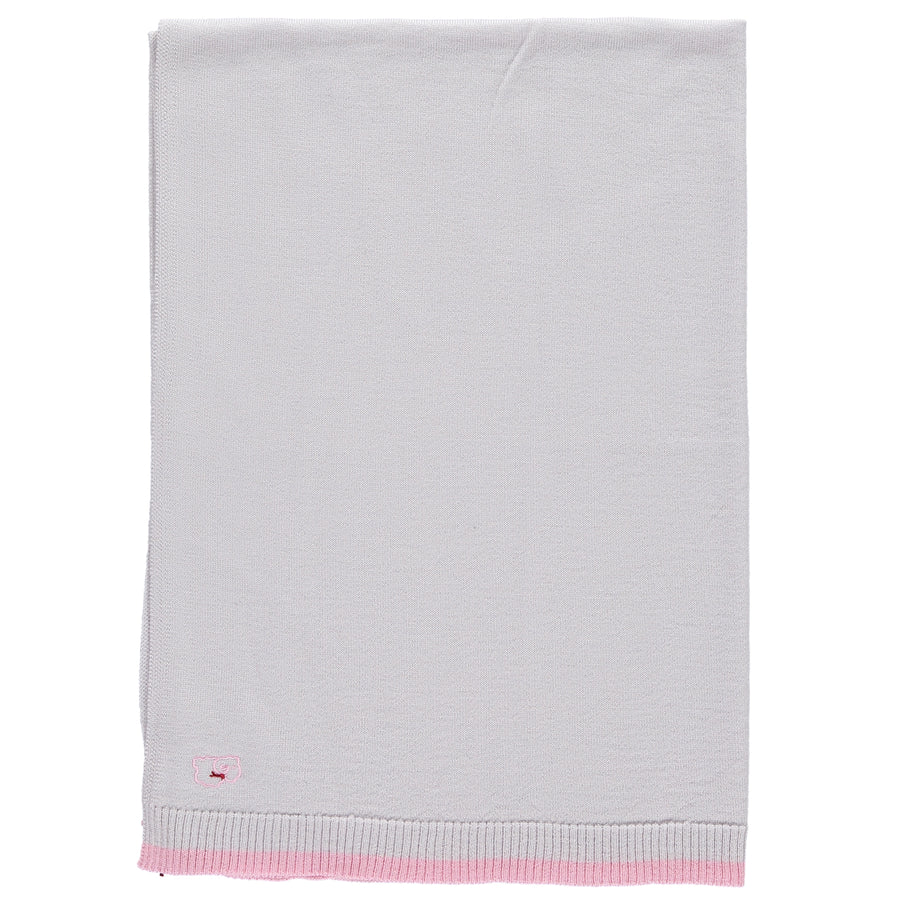 Merino Knitted Lightweight Baby Blanket - Pearl Grey & Rose - Scarlet Ribbon Merino