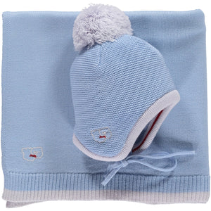 Scarlet Ribbon Baby Hat & Blanket Gift Set - Beau Blue - Scarlet Ribbon Merino