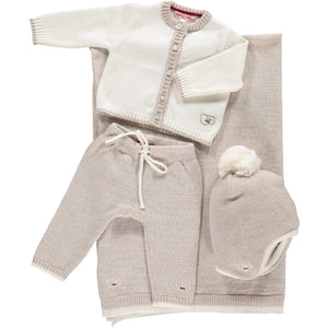 Scarlet Ribbon Baby Gift Set - Cardigan & Leggings, White & Oatmeal - Scarlet Ribbon Merino