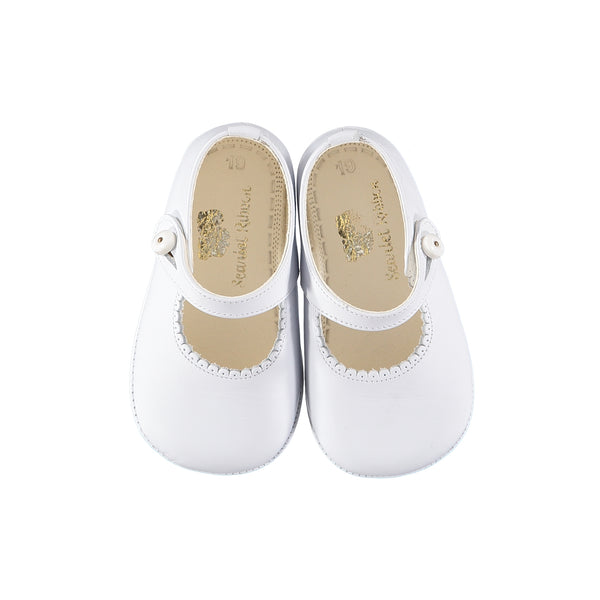 Soft Leather Baby 'Lucy' Shoe, White