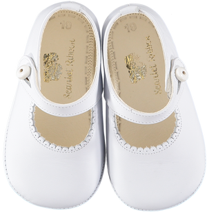 Soft Leather Baby 'Lucy' Shoes - White - Scarlet Ribbon Merino