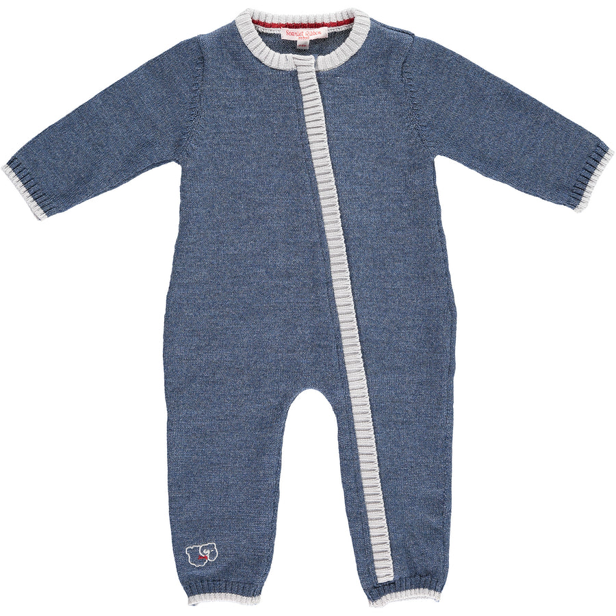 Merino Zip-Up Baby Daysuit - Denim - Scarlet Ribbon Merino