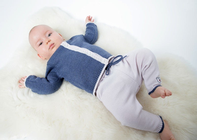 Merino Knitted Baby Leggings - Pearl Grey & Denim - Scarlet Ribbon Merino