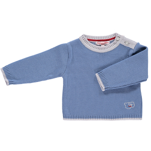 Merino Baby Jumper with Sheep Motif - Cornflower Blue - Scarlet Ribbon Merino