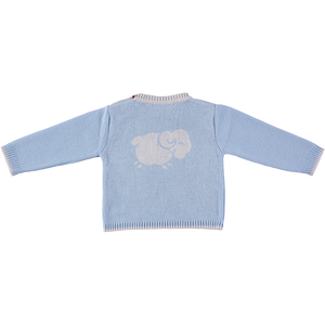Merino Baby Jumper with Sheep Motif - Beau Blue - Scarlet Ribbon Merino