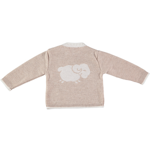 Merino Baby Jumper with Sheep Motif - Oatmeal - Scarlet Ribbon Merino