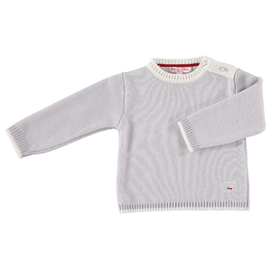 Merino Baby Jumper with Sheep Motif - Pearl Grey - Scarlet Ribbon Merino