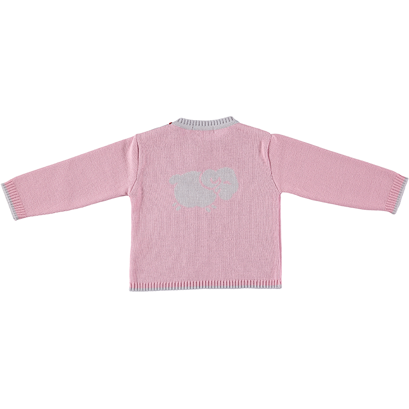 Merino Baby Jumper with Sheep Motif - Rose - Scarlet Ribbon Merino