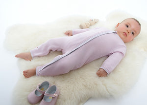 Merino Zip-Up Baby Daysuit - Petal - Scarlet Ribbon Merino