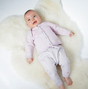Merino Knitted Baby Leggings - Pearl Grey & Petal - Scarlet Ribbon Merino