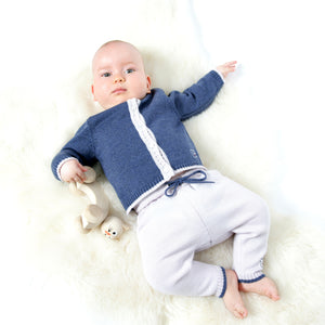 Merino Baby Cardigan & Leggings Set - Denim - Scarlet Ribbon Merino