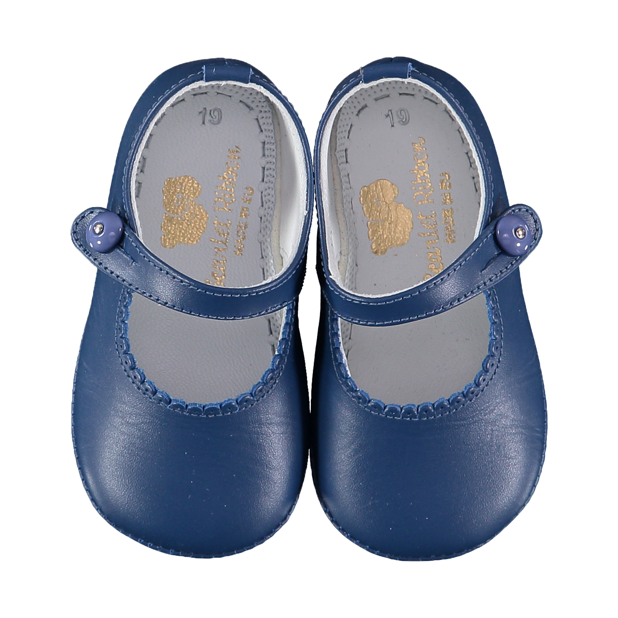f542d7170300 Soft Leather Baby  Lucy  Shoes - French Navy - Scarlet Ribbon Merino Ltd