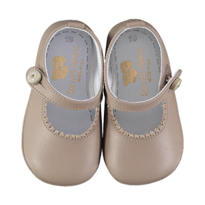 Soft Leather Baby 'Lucy' Shoes - Taupe - Scarlet Ribbon Merino