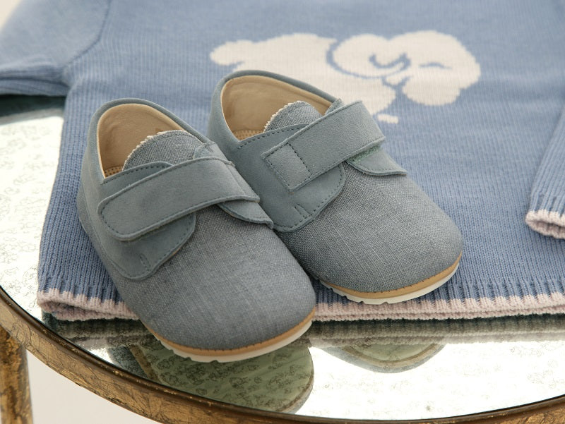 Soft Linen Baby 'Charlie' Shoes - Light Denim - Scarlet Ribbon Merino