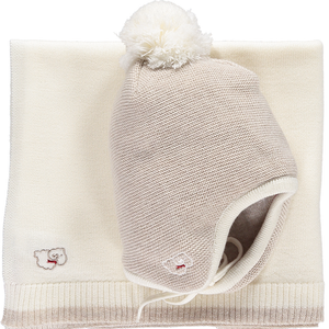 Scarlet Ribbon Baby Hat & Blanket Gift Set - Oatmeal & White - Scarlet Ribbon Merino