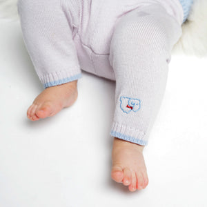 Merino Knitted Baby Leggings - Pearl Grey & Blue - Scarlet Ribbon Merino