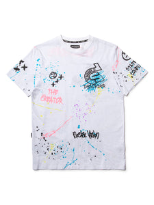CHAIN STITCH EMBROIDERY/ AIRBRUSHED GRAFFITI GRAPHIC S/S-WHITE - Kut'N Haus