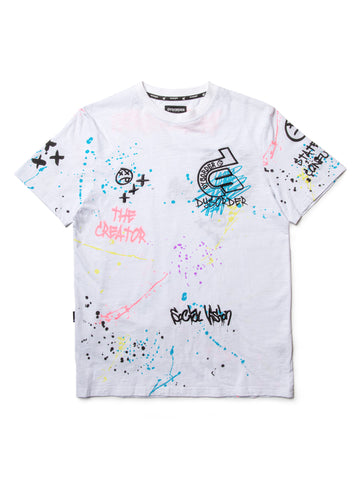 CHAIN STITCH EMBROIDERY/ AIRBRUSHED GRAFFITI GRAPHIC S/S-WHITE - KUTNHAUS