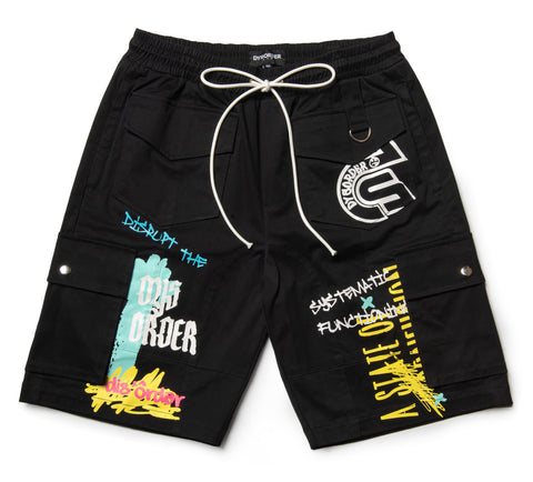UTILITY POCKETS & STRAPS/ AIRBRUSHED GRAFFITI SHORT PANT-BLACK - Kut'N Haus
