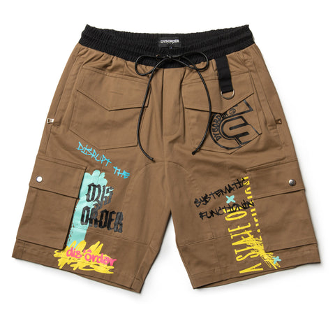 UTILITY POCKETS & STRAPS/ AIRBRUSHED GRAFFITI SHORT PANT-KHAKI - RS1NEWYORK