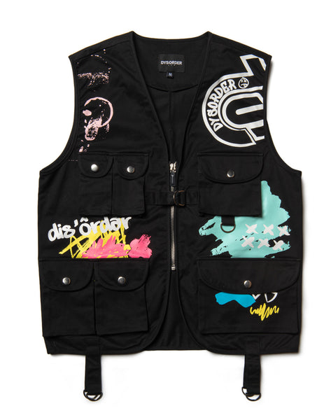 UTILITY POCKETS & STRAPS/ AIRBRUSHED GRAFFITI VEST-BLACK