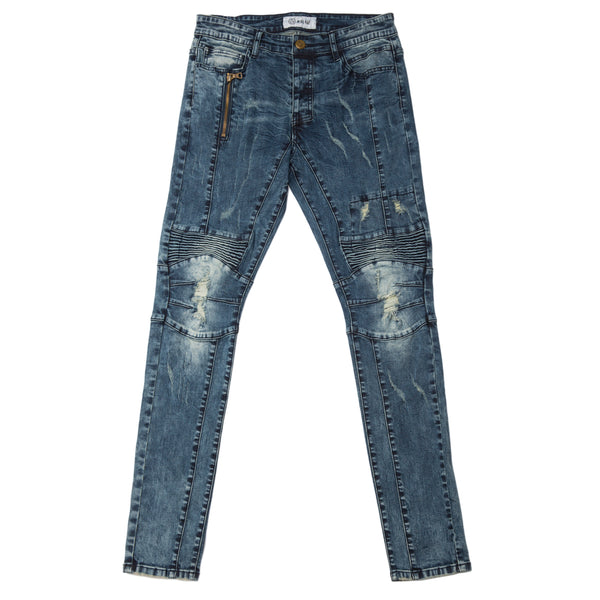 KNEE DETAIL DENIM PANTS - KUTNHAUS