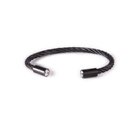 BG002B B.Tiff Classic Cable Black Anodized Stainless Steel Bangle Bracelet