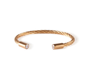 BG002G B.Tiff Classic Cable Gold Plated Stainless Steel Bangle Bracelet
