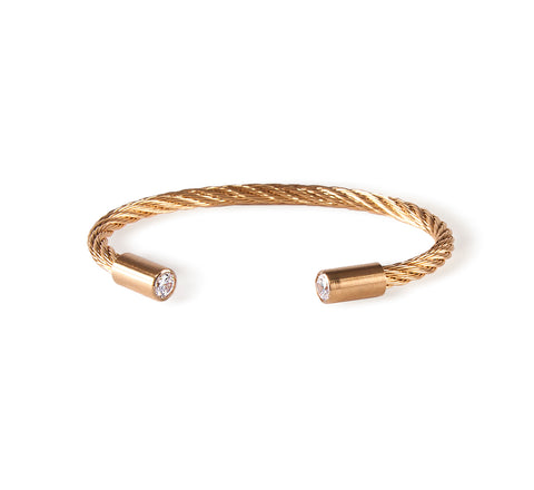 BG002G B.Tiff Signity Star End Gold Plated Cuff Bangle Bracelet