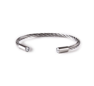 BG002W B.Tiff Classic Cable Stainless Steel Bangle Bracelet