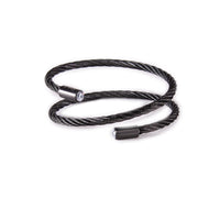 BG003B B.Tiff Double Wrapped Black Anodized Stainless Steel Cable Bracelet