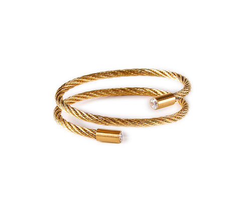 BG003G B.Tiff Signity Star End Gold Plated Stainless Steel Cable Bangle Bracelet