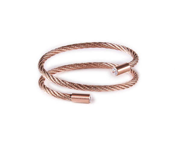 BG003RG B.Tiff Double Wrapped Rose Gold Plated Stainless Steel Cable Bangle Bracelet