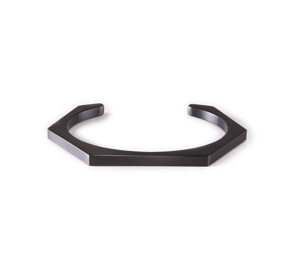 BG007B B.Tiff Plain Black Anodized Stainless Steel Edge Hexagon Bangle Bracelet