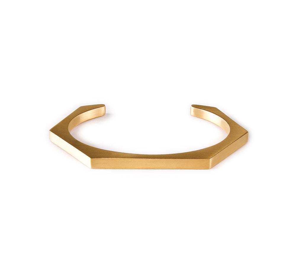 BG007G B.Tiff Plain Gold Plated Stainless Steel Edge Hexagon Bangle Bracelet