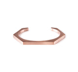 BG007RG B.Tiff Plain Rose Gold Plated Stainless Steel Hexagon Bangle Bracelet