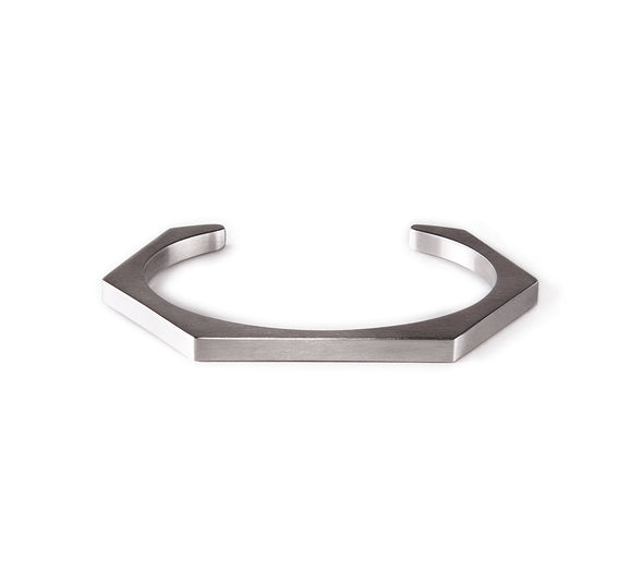 BG007W B.Tiff Plain Stainless Steel Hexagon Bangle Bracelet