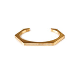 BG017G B.Tiff Pave' Gold Plated Stainless Steel Hexagon Bangle Bracelet