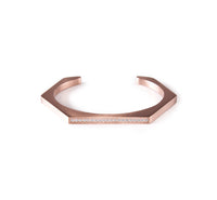 BG017W B.Tiff Pave' Stainless Steel Hexagon Bangle Bracelet