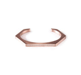 BG017RG B.Tiff Pave' Rose Gold Plated Stainless Steel Hexagon Bangle Bracelet