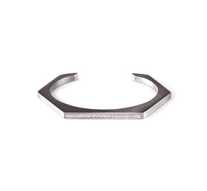 BG017B B.Tiff Pave' Black Anodized Stainless Steel Hexagon Bangle Bracelet